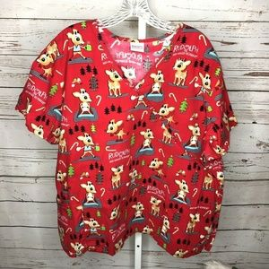 Rudolph The Red Nose Reindeer Scrub Top Size 1x